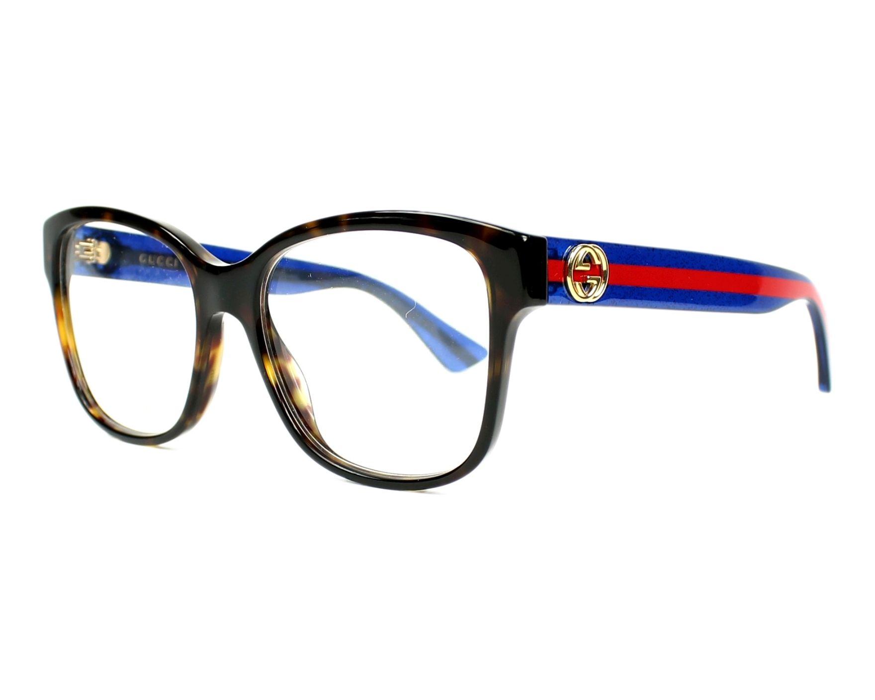 3df34be141 Gafas Graduadas Gucci GG-0038-O 003 54-17 Havana Azul vista de