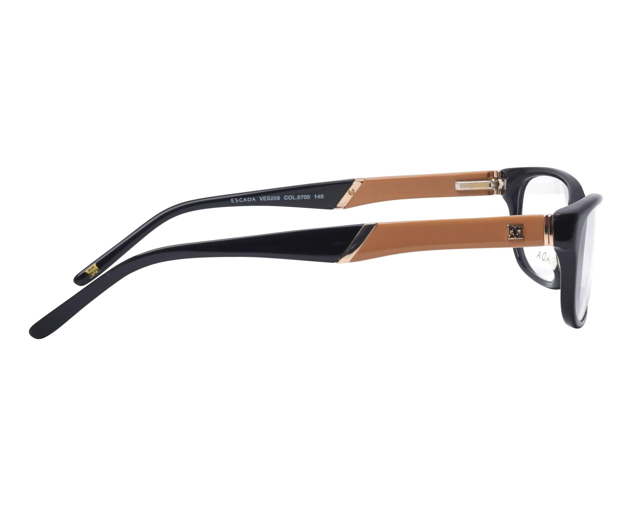 b36aabfae1 Gafas Graduadas Escada VES-208 0700 53-16 Negra Beige vista lateral