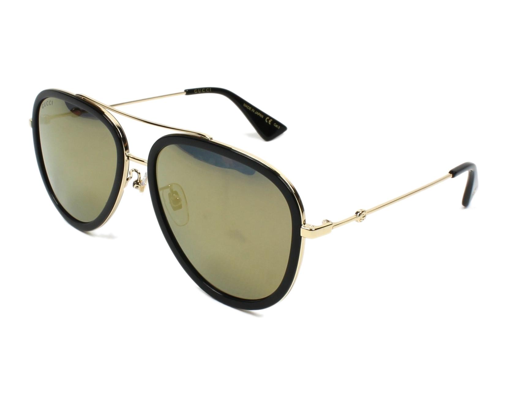 e2b1c1b711d Gafas de sol Gucci GG-0062-S 001 - Negra Oro vista de perfil