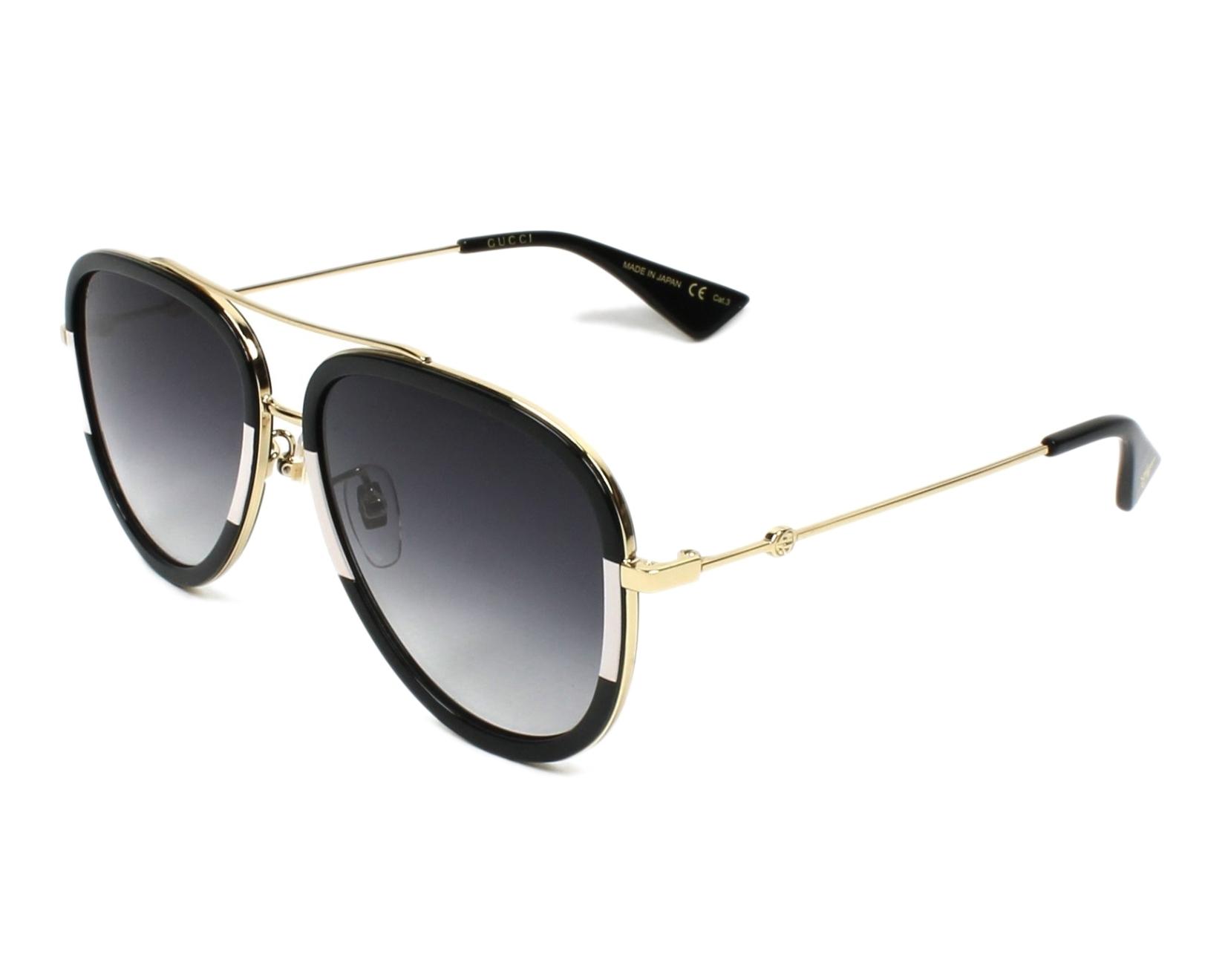 67bcf025a12 Gafas de sol Gucci GG-0062-S 006 - Negra Blanco vista de perfil