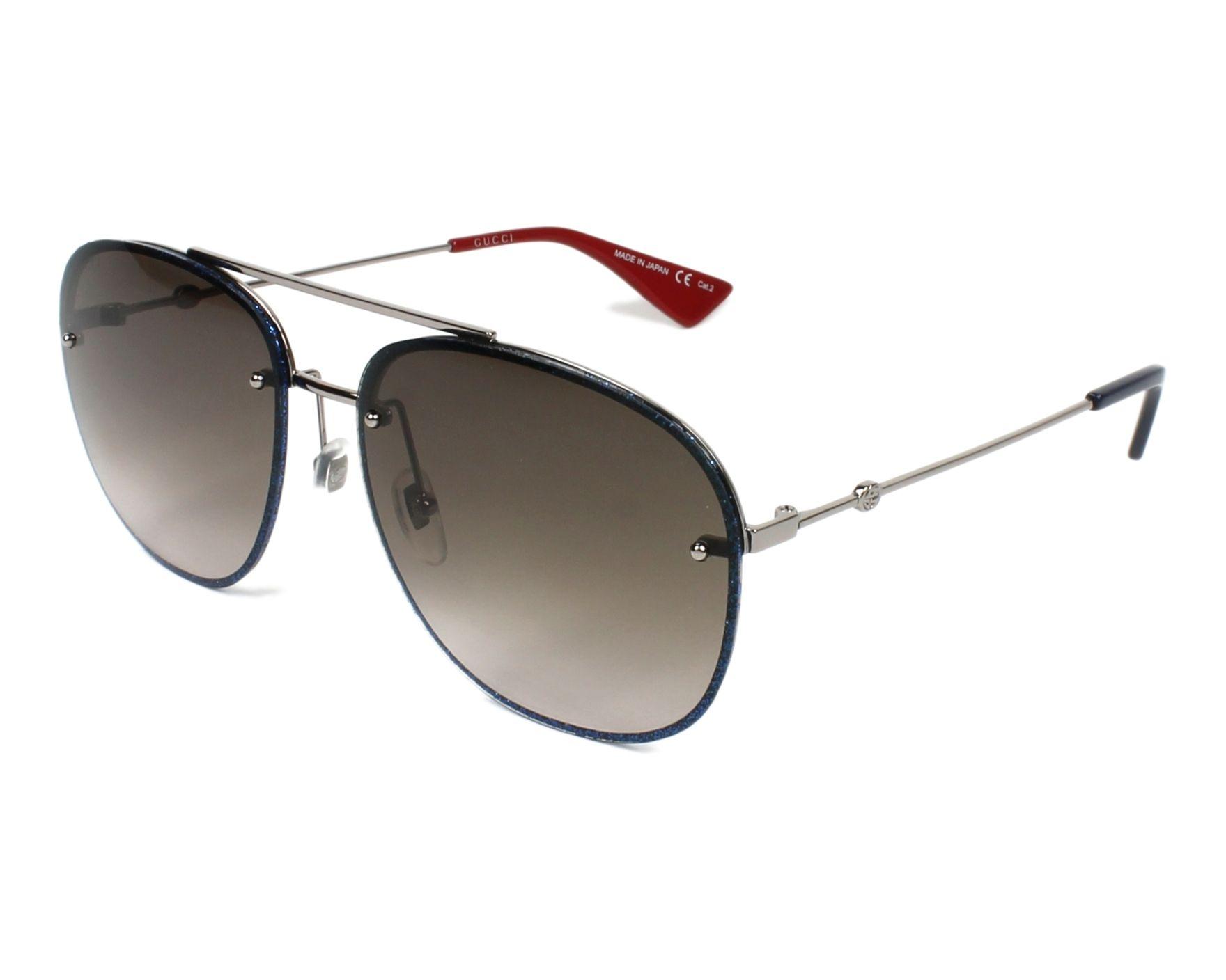 43dc9d09e7c Gafas de sol Gucci GG-0227-S 002 62-16 Azul Plata vista