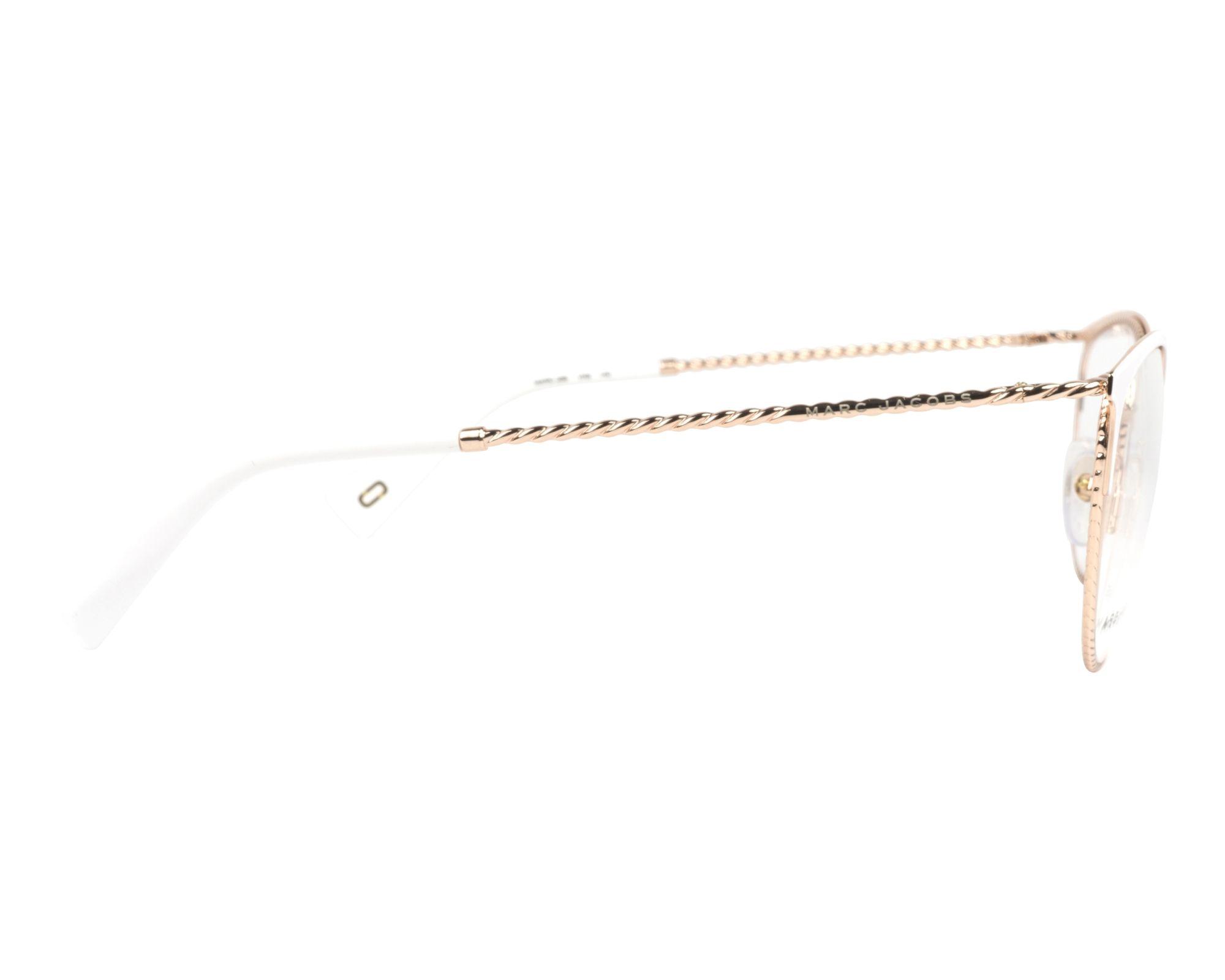 a8207d7898208 Gafas Graduadas Marc Jacobs MARC-256 VK6 53-18 Blanco Oro cobre vista  lateral